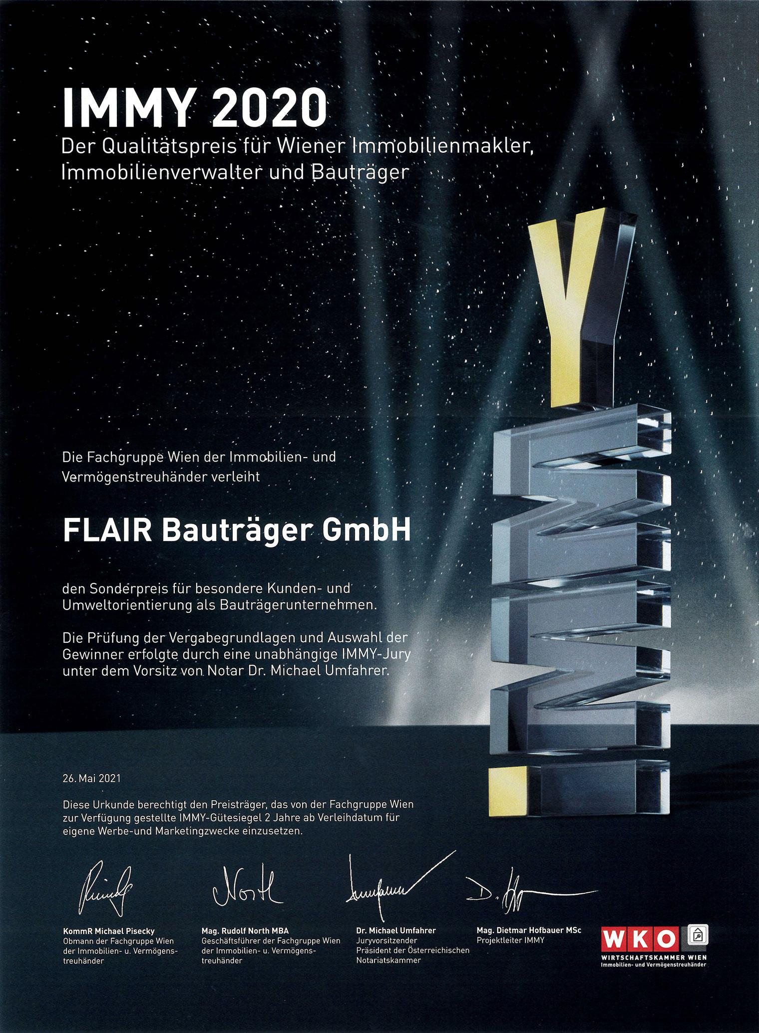 IMMY 2020 Urkunde für FLAIR